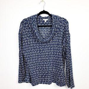 Light Striped Cowl Neck Sweater
